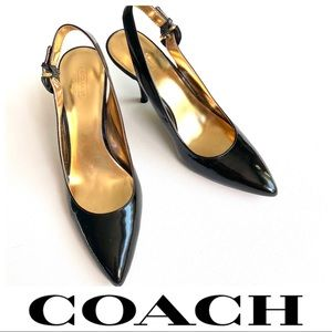 COACH • Patent leather slingback heels